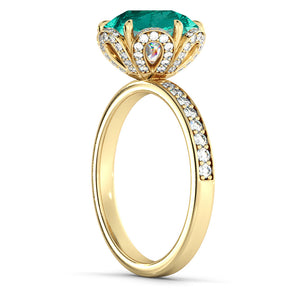 "2 Carat 14K White Gold Emerald & Diamonds ""Allison"" Engagement Ring"