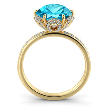 "Load image into Gallery viewer, 2 Carat 14K Yellow Gold Blue Topaz & Diamonds ""Allison"" Engagement Ring"