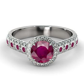 2.5 Carat 14K White Gold Ruby & Diamonds
