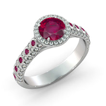 "Load image into Gallery viewer, 2.5 Carat 14K Rose Gold Ruby & Diamonds ""Beatrice"" Engagement Ring"
