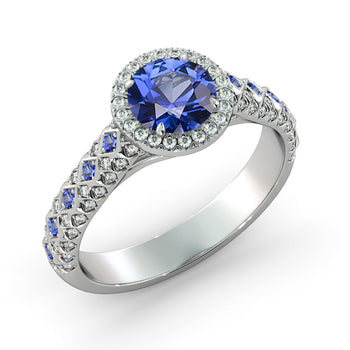 1.5 Carat 14K White Gold Blue Sapphire & Diamonds