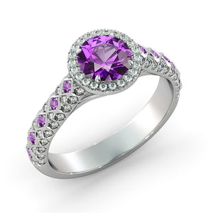 "2.5 TCW 14K White Gold Amethyst ""Beatrice"" Engagement Ring - Diamonds Mine"