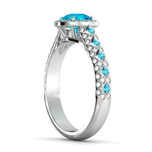 "Load image into Gallery viewer, 2.5 Carat 14K White Gold Blue Topaz & Diamonds ""Beatrice"" Engagement Ring 