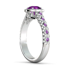 "Load image into Gallery viewer, 2.5 TCW 14K White Gold Amethyst ""Beatrice"" Engagement Ring - Diamonds Mine"