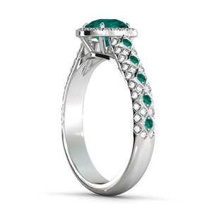 "2.5 TCW 14K White Gold Emerald ""Beatrice"" Engagement Ring - Diamonds Mine"