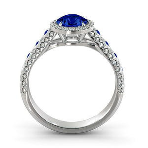 "1.5 Carat 14K White Gold Blue Sapphire & Diamonds ""Beatrice"" Engagement Ring"