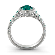 "Load image into Gallery viewer, 2.5 TCW 14K White Gold Emerald ""Beatrice"" Engagement Ring - Diamonds Mine"