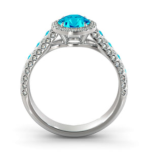 "2.5 Carat 14K White Gold Blue Topaz & Diamonds ""Beatrice"" Engagement Ring 