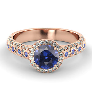 "1.5 Carat 14K Rose Gold Blue Sapphire & Diamonds ""Beatrice"" Engagement Ring"