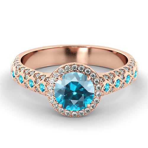 2.5 Carat 14K Rose Gold Blue Topaz & Diamonds
