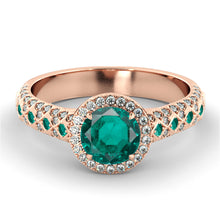 "Load image into Gallery viewer, 2.5 TCW 14K Yellow Gold Emerald ""Beatrice"" Engagement Ring - Diamonds Mine"