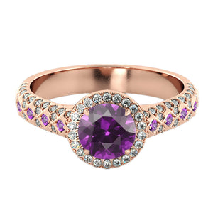 "2.5 TCW 14K Rose Gold Amethyst ""Beatrice"" Engagement Ring - Diamonds Mine"