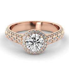 "Load image into Gallery viewer, 1.5 Carat 14K Rose Gold Moissanite & Diamonds ""Beatrice"" Engagement Ring"