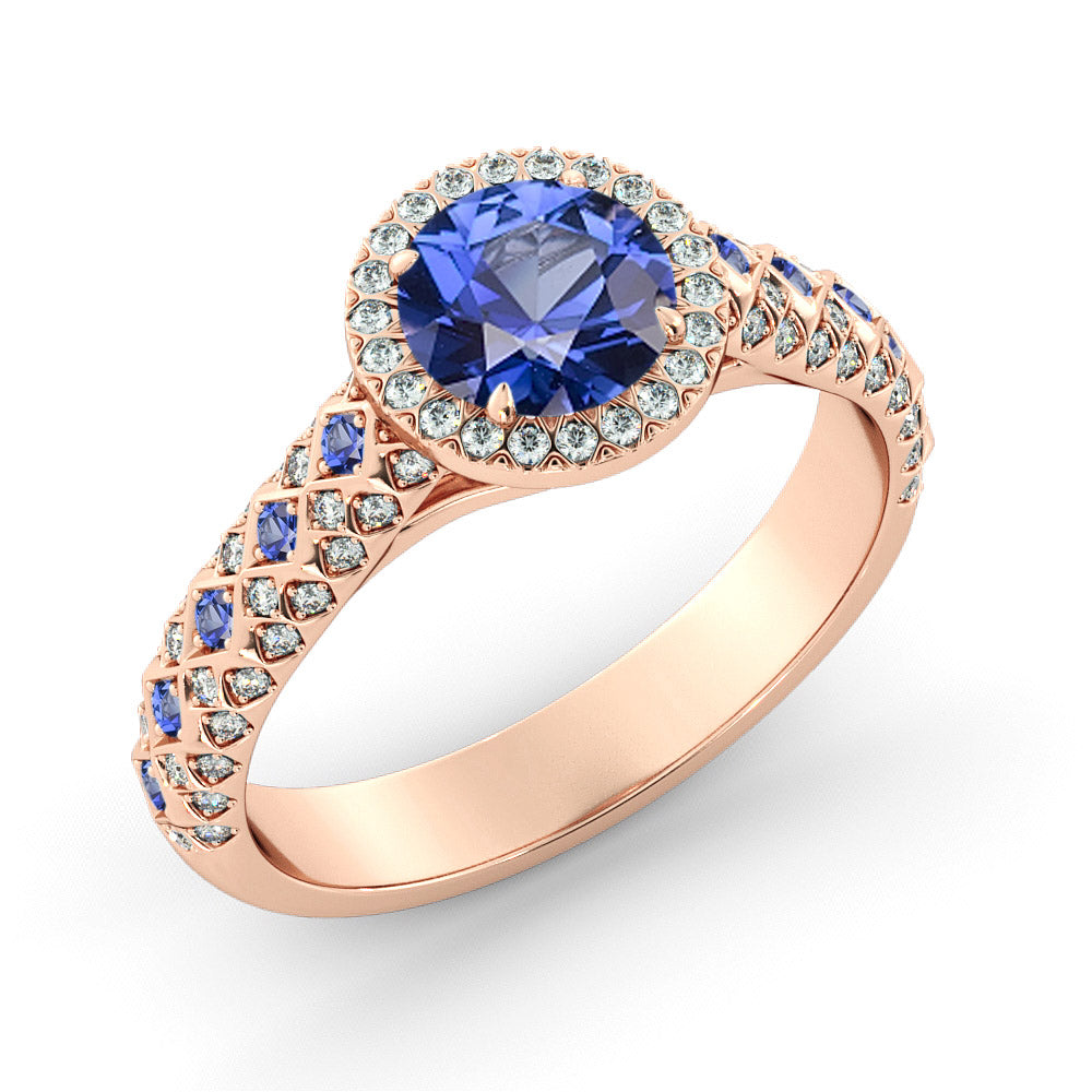 1.5 Carat 14K Rose Gold Blue Sapphire & Diamonds