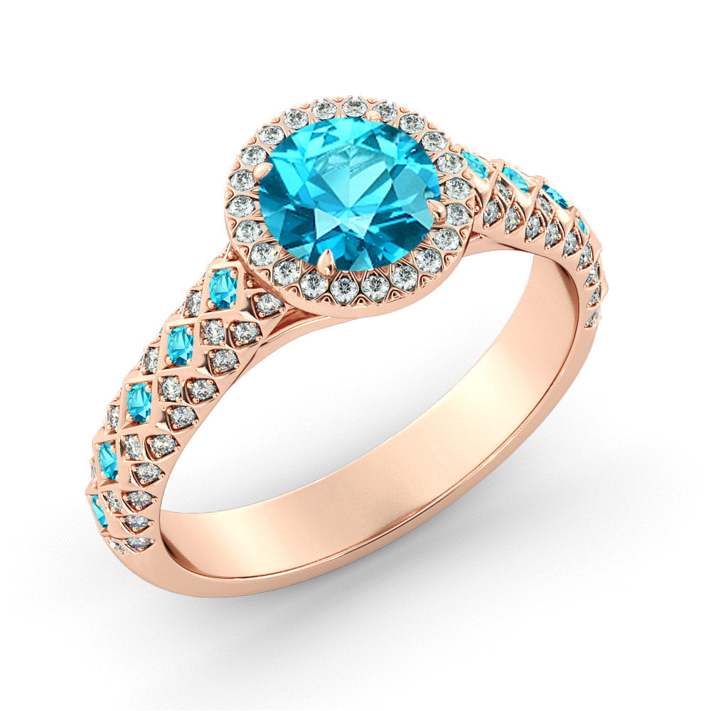 2.5 Carat 14K Rose Gold Aquamarine & Diamonds
