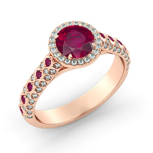 "2.5 Carat 14K White Gold Ruby & Diamonds ""Beatrice"" Engagement Ring"