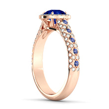 "Load image into Gallery viewer, 1.5 Carat 14K White Gold Blue Sapphire & Diamonds ""Beatrice"" Engagement Ring"