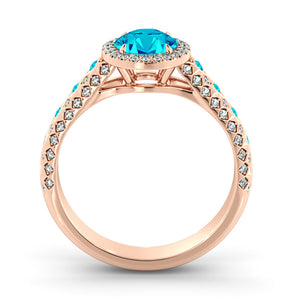 "2.5 Carat 14K Rose Gold Aquamarine & Diamonds ""Beatrice"" Engagement Ring"