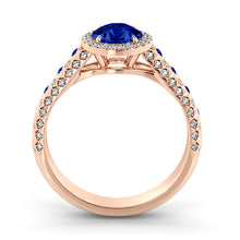 "Load image into Gallery viewer, 1.5 Carat 14K Yellow Gold Blue Sapphire & Diamonds ""Beatrice"" Engagement Ring"