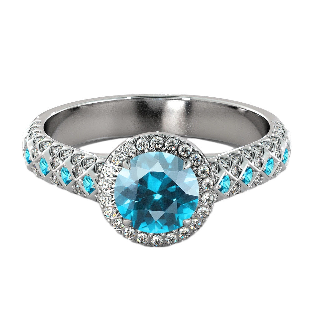 2.5 Carat 14K White Gold Blue Topaz & Diamonds