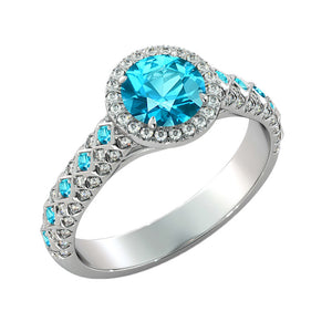 "2.5 TCW 14K White Gold Aquamarine ""Beatrice"" Engagement Ring - Diamonds Mine"