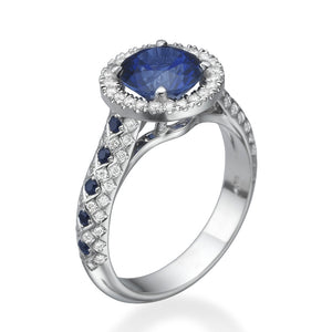 "1.5 TCW 14K White Gold Blue Sapphire ""Beatrice"" Engagement Ring - Diamonds Mine"