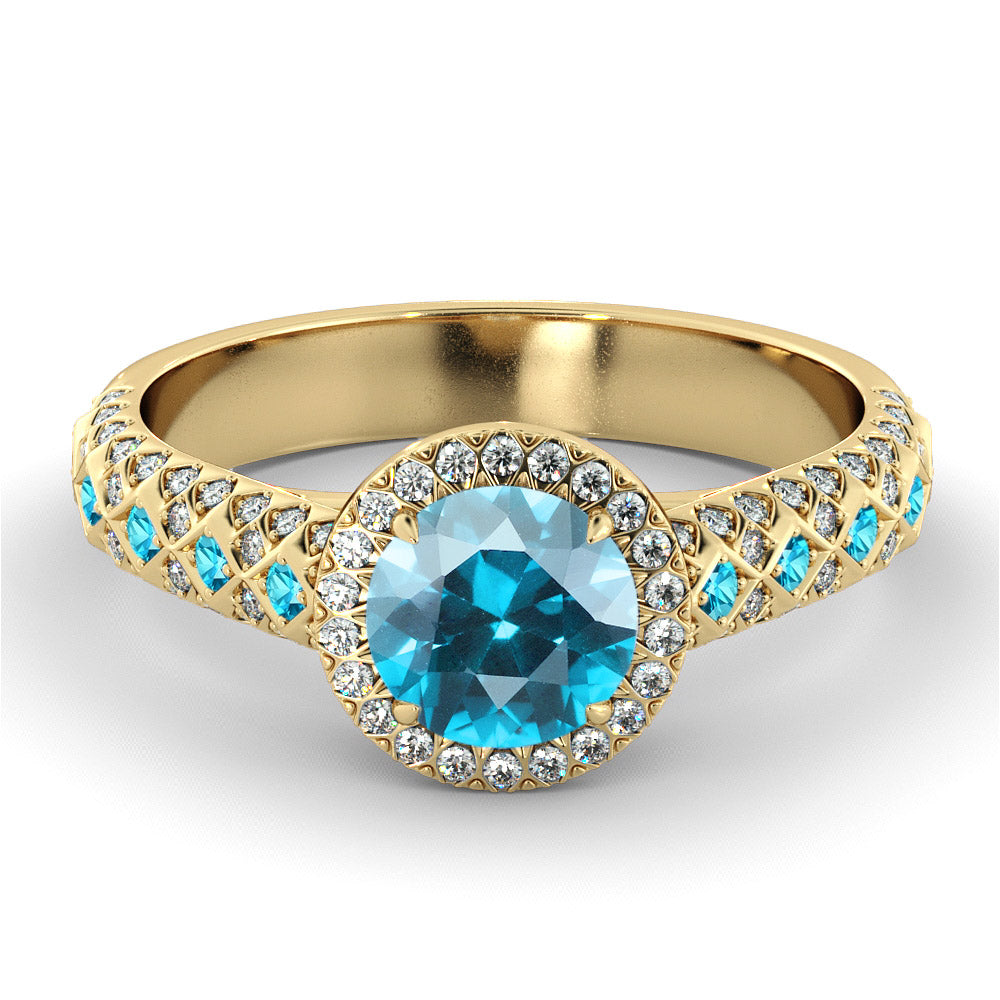 "2.5 TCW 14K Yellow Gold Aquamarine ""Beatrice"" Engagement Ring - Diamonds Mine"
