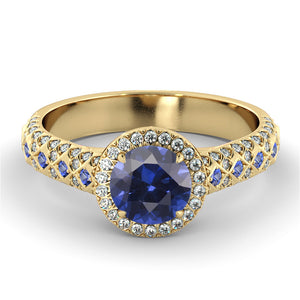 "1.5 Carat 14K Yellow Gold Blue Sapphire & Diamonds ""Beatrice"" Engagement Ring"