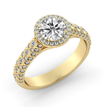 2 Carat 14K Yellow Gold Moissanite & Diamonds