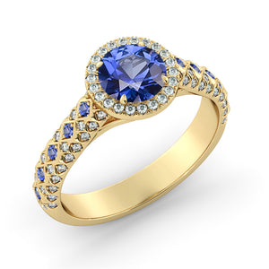 "1.5 TCW 14K Yellow Gold Blue Sapphire ""Beatrice"" Engagement Ring - Diamonds Mine"