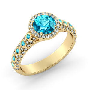 "2.5 TCW 14K White Gold Blue Topaz ""Beatrice"" Engagement Ring"