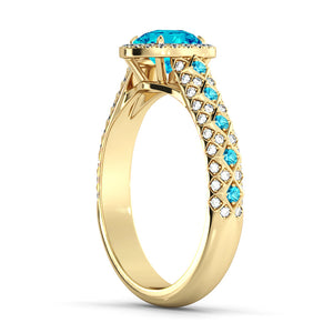 "2.5 Carat 14K Yellow Gold Aquamarine & Diamonds ""Beatrice"" Engagement Ring"