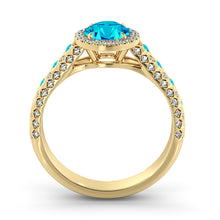 "Load image into Gallery viewer, 2.5 Carat 14K Yellow Gold Blue Topaz & Diamonds ""Beatrice"" Engagement Ring"