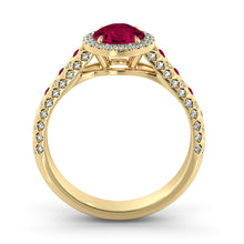 "Load image into Gallery viewer, 2.5 Carat 14K White Gold Ruby & Diamonds ""Beatrice"" Engagement Ring"