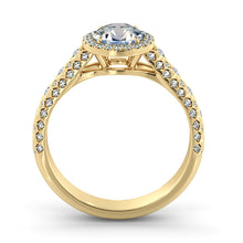 "Load image into Gallery viewer, 2 Carat 14K Yellow Gold Moissanite & Diamonds ""Beatrice"" Engagement Ring"