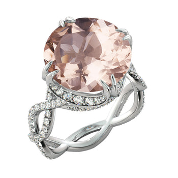 Crown Style Morganite Engagement Ring - Diamonds Mine
