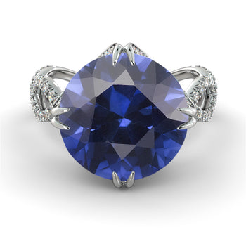 2 Carats Natural Crown Blue Sapphire Engagement Ring - Diamonds Mine