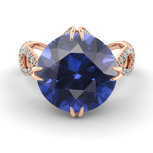 "2 Carats 14K Rose Gold Blue Sapphire ""Katherine"" Engagement Ring"
