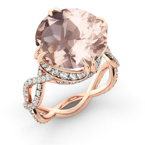 3.75 Carat 14K Rose Gold Morganite & Diamonds