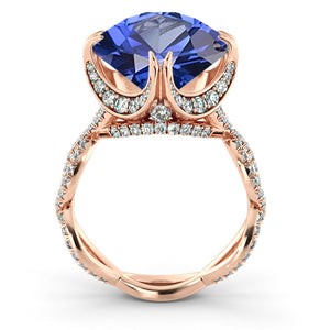 "2.75 Carat 14K White Gold Blue Sapphire & Diamonds ""Katherine"" Engagement Ring"