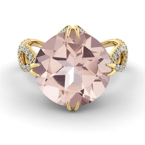 "3.75 Carat 14K Yellow Gold Morganite & Diamonds ""Katherine"" Engagement Ring"