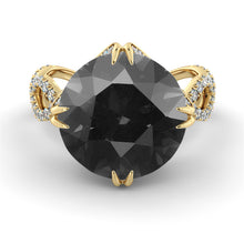 "Load image into Gallery viewer, 5 Carat 14K Yellow Gold Black Diamond ""Katherine"" Ring"