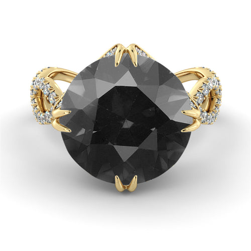 5 Carat 14K Yellow Gold Black Diamond