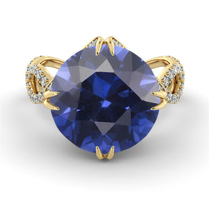 2.75 Carat 14K Yellow Gold Blue Sapphire & Diamonds