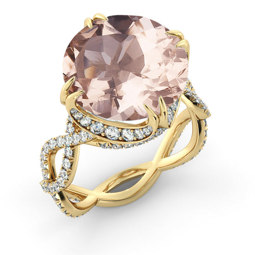 3.75 Carat 14K Yellow Gold Morganite & Diamonds