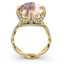 "Load image into Gallery viewer, 3.75 Carat 14K Yellow Gold Morganite & Diamonds ""Katherine"" Engagement Ring"