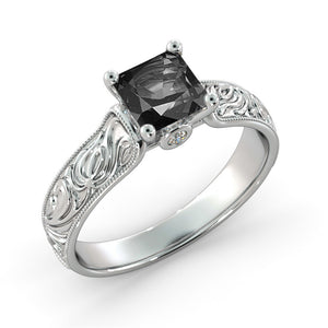 "1.06 TCW 14K White Gold Black Diamond ""Harmony"" Engagement Ring - Diamonds Mine"