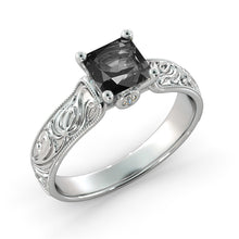 "Load image into Gallery viewer, 1.06 TCW 14K White Gold Black Diamond ""Harmony"" Engagement Ring - Diamonds Mine"