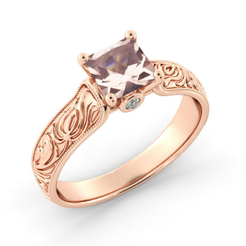 Peach Morganite Ring in 14K Solid Gold - Diamonds Mine
