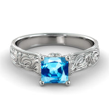 "Load image into Gallery viewer, 1 Carat 14K White Gold Aquamarine & Diamonds ""Harmony"" Engagement Ring"